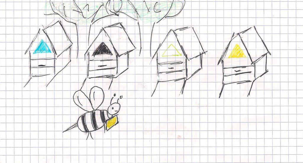 Szereg uli w kolorach widzianych przez pszczoły i pszczoła lecąca z żółta karteczką na szyi Nieudolny, odręczny rysunek. hi, hi