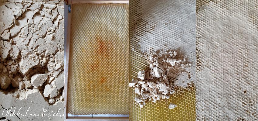 Pokazany sposób podania substytutu pierzgi. Na pierwszym zdjęciu pierzga w pudełku w postaci proszku. Na drugim czysta ramka. Na trzecim pierzga wysypana łyżką na ramkę, na czwartym proszek w tarty w komórki.