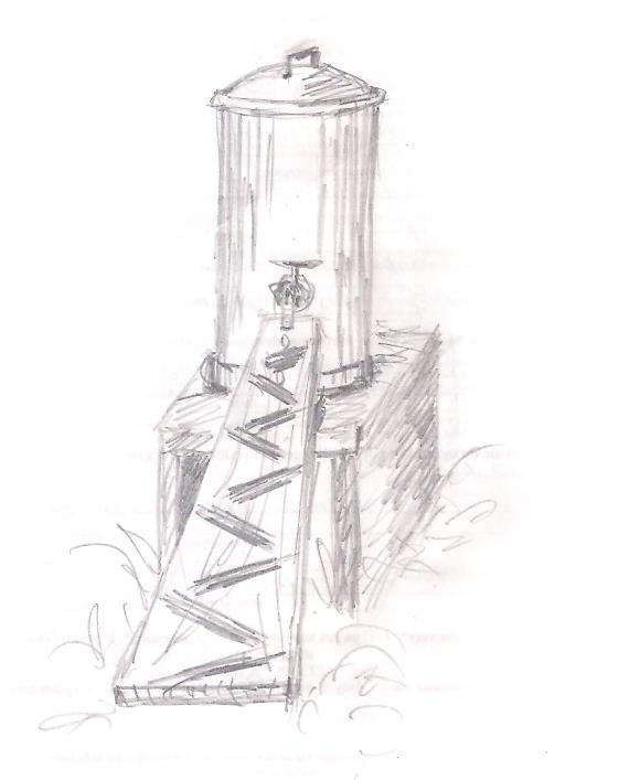 Rysunek ołówkiem przedstawiający opisane w tekście poidło dla pszczół.