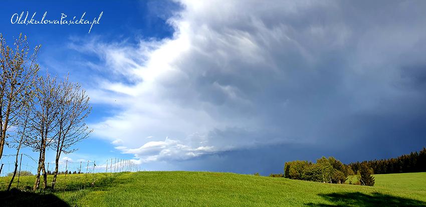 Widok na zielona łąkę. Na niebie potężna, burzowa chmura.